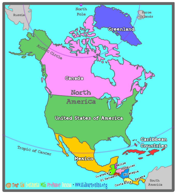 Countries Of North America Map Welcome to Kid Learn with Professor Bananas!